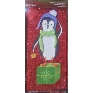 Papyrus Penguin Red Sparkle 8 Christmas Cards